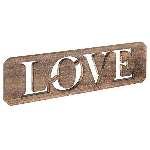 MyGift 24-inch Rustic Wall-Mounted Wood Cutout Love Sign, Hanging Wall Art Decor