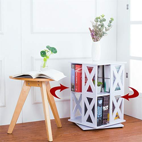 LRRJJ Bookshelf 360°Rotating Bookcase Simple Disassembly Bookshelves Simple Student Landing Rack Room Divider Shelf Magazine Book Holder DVD/CD Rack Storage Unit,A,TWOLAYERS ()