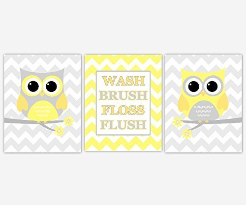 Amazon.com: Kids Bath Wall Art Yellow Gray Grey Owls Chevron ...