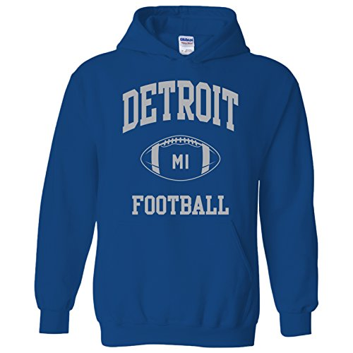 - Detroit Classic Football Arch American Football Team Sports Hoodie - Large - Royal