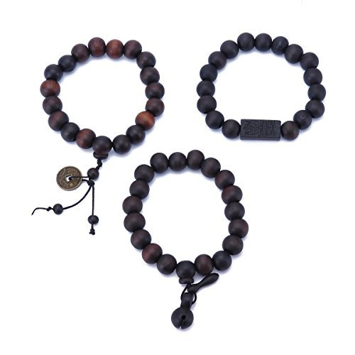 3PCS/Set Tibetan Buddha Wood Beads Bracelet with FengShui Coins Wooden Fish Praying Buddhist Wrist Mala Elastic Bracelets