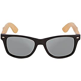 WOODIES Bamboo Wood Sunglasses with Mirror Lens 26 Handmade from REAL Bamboo Wood (50% Lighter than Ray-Bans) Includes FREE Carrying Case, Lens Cloth, and Wood Guitar Pick Polarized Lenses Provide 100% UVA/UVB Protection