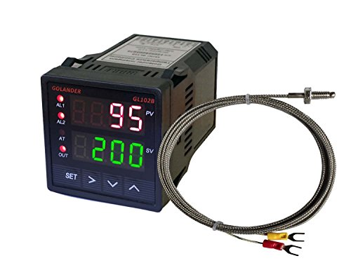 Universal Temperature Controller - 12V/24V DC Powered Universal 1/16DIN PID Temperature Controller, PID, On/off, Manual Control, with K Thermocouple