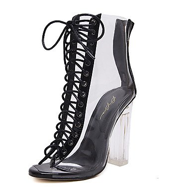 Botas de mujer Verano Gladiator traje de goma Chunky TALÓN TALÓN de cristal negro de almendra Black