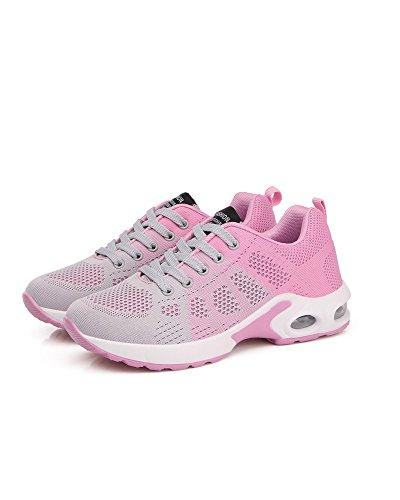 con Al Mujeres Viajes Libre Aire Running Cordones de Gris La Superior Amortiguador Malla de Universidad Transpirable Colorido Zapatos de Aire Rosado Zapatos Adolescentes w4Eq46g