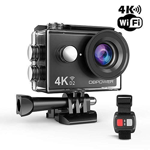 DBPOWER 4K Action Camera 12MP Ultra HD Waterproof Sports Cam with Built-in WiFi 170 Degree Wide Angle Lens 2 Inch LCD Screen Plus 1050mAh Rechargeable Battery