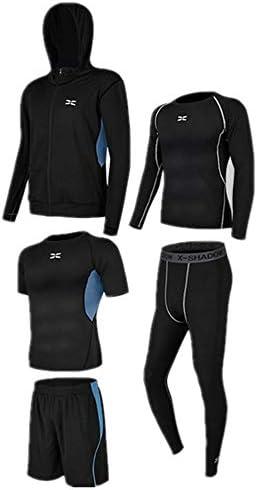 レディースジャージ上下セット 半袖Tシャツショーツメンズ5個スポーツアクティブウェアスーツとスーツ長袖シャツタイトパンツ 吸汗 速乾 (Color : Black blue, Size : L)