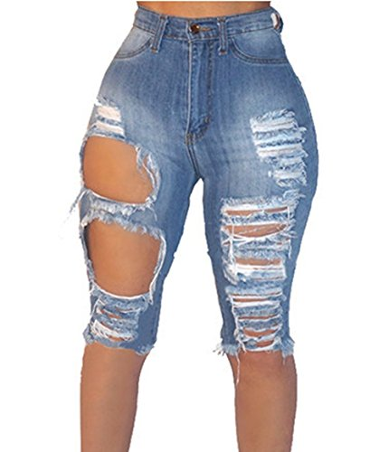 Universalgoods Womens Casual Denim Destroyed Bermuda Shorts Jeans Ripped Knee Length ()