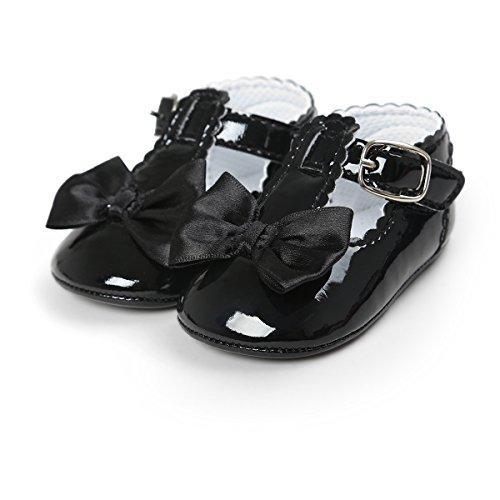 QGAKAGO Infant Baby Girls Bowknot Soft Sole Prewalker Mary Jane Shoes Princess Crib Light Shoes