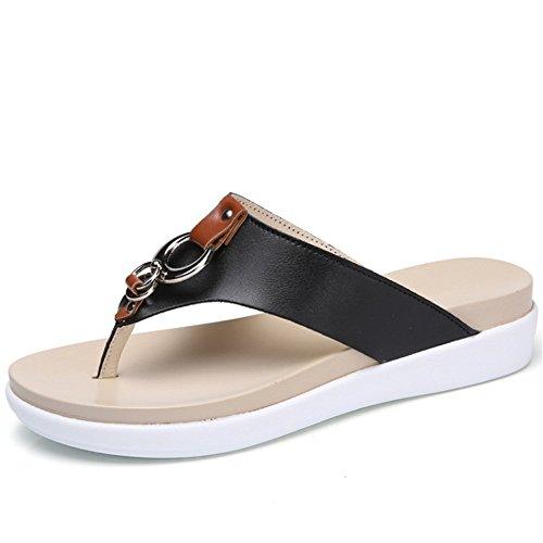 Wangcui Flip Plage Tongs 3 Noir De Chaussures en Couleur Pantoufles 38 Cuir Blanc Plates Antidérapantes Taille EU 2 D'été Sandal rqXrp