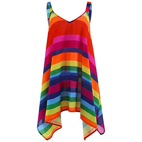 Womens Shirts Print Irregular Sleeveless Casual Tunic Tops Blouse T-Shirt for Ladies Teen Girls - Print Calendar Rainbow