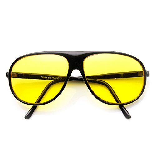 zeroUV - Yellow Tinted Driving Lens Retro Teardrop Plastic Aviator Sunglasses (Black - Yellow Sunglasses Aviator