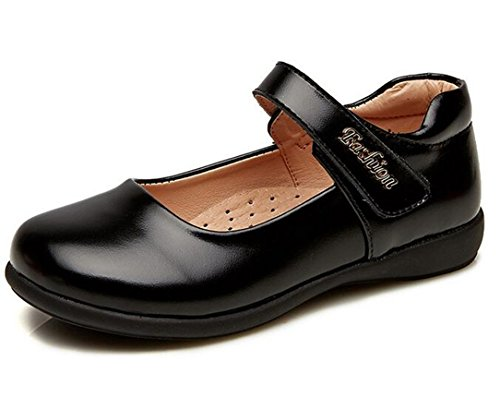 Bumud Girl's Leather Mary Jane Flats School Uniform Dress Shoes (13 M US Little Kid, Black) by Bumud