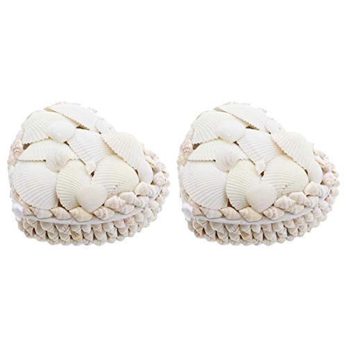 Li'Shay 2 Pack White Seashell Covered Jewelry Trinket Box Treasure Box - 4 Inch - Heart