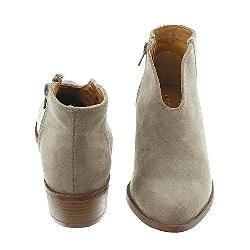 Stivali Junerain Grey Casual Inverno Autunno Donna Scarpe Martin Con Basso 7 Tacco Zip grigio Lady IxrBIq