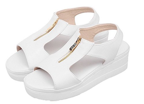 AgooLar Cuir Unie Blanc Sandales GMBLB014842 Couleur Ouverture Zip d'orteil Femme PU r6wqZrU