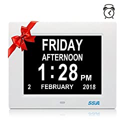 SSA Digital Calendar Day Clock with Large Clear Time Day and Date display, Wall hanging or Desk/Shelf clock ideal for Impaired Vision & Memory Loss.Fathers Day Gifts 8 White