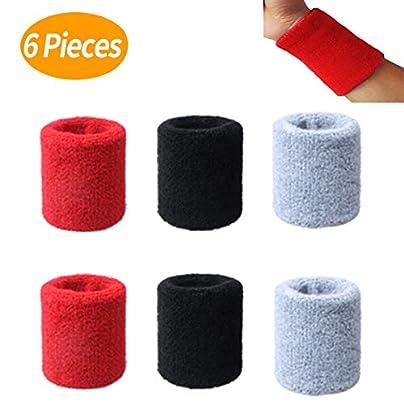 Mengger Sports Wristband Elastic Athletic Cotton Sweatband Wrist Bands For Football Basketball Tennis Squash Badminton Gym Sports Gymnastics 6pcs Estimated Price £8.99 -