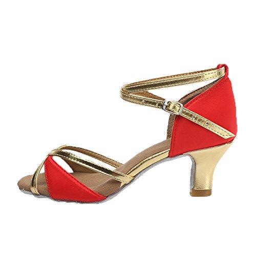 HROYL Women's Standard Latin/Modern/Samba/Chacha Dance Shoes Satin Ballroom W-805 5CM Red eA6G2Y