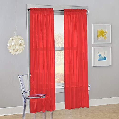 """Decotex Set of 2 Sheer Voile Transparent Window Panel Curtain Drapes (54"""" W X 95"""" L, Red)"""