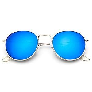 Sinkfish SG80026 Sunglasses for Women,Anti-UV & Retro Round Reflector - UV400/Bisque /Blue