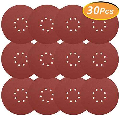 30 Pieces 9 Inch Sandpaper, GOH DODD Hook & Loop 8-Hole Sander Sheets 80 Grits Grinding Abrasive Sanding Disc for Wood Furniture Drywall Finishing, Metal Sanding and Mirror Jewelry Car Polishing (And Wood Mirror Metal)