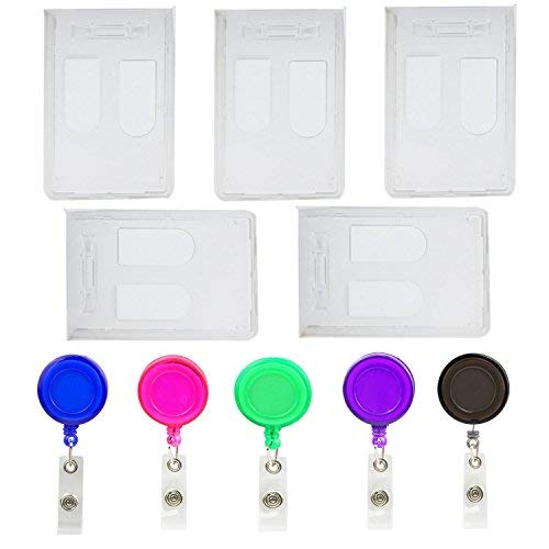 Luckkyme 5PCS Double Card ID Slot Heavy Duty Badge Holders Vertical with 5PCS Retractable Badge Holder ID Badge Reel - Double Reel Badge
