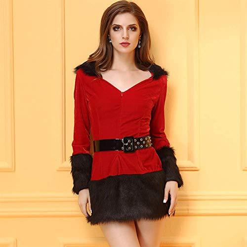 L Navidad Mangas Largas Invisible Vestido Cremallera Rojo Antes Cinturón Ajustable Babydoll Disfraz SFHK De Encapuchado Mujeres Zxq1daccTw