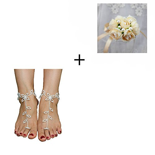 X-advanture 1 Pair Rhinestone Bride Barefoot Sandals + 1 Piece Ribbon Wrist Bracelet(Champagne) Set, Crystals Adjustable Beach Wedding Foot Jewelry Bridesmaid Gift