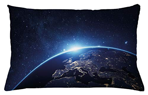 """Ambesonne Earth Throw Pillow Cushion Cover, Planet from The Space at Night Galactic Astronomy Themed Ethereal Interstellar Image, Decorative Rectangle Accent Pillow Case, 26"""" X 16"""", Blue"""
