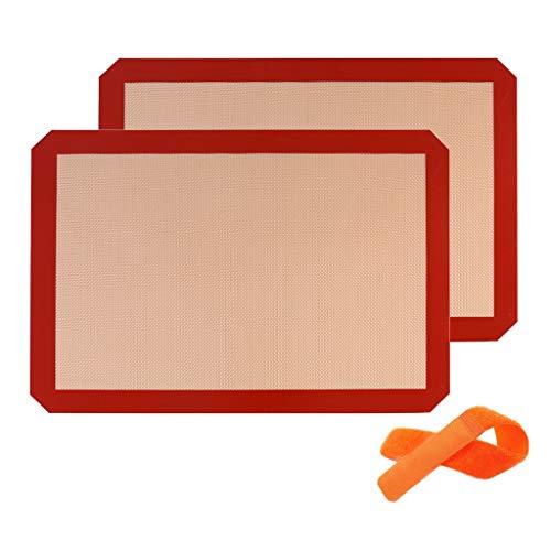 YunZyun 2 Pcs Gill Mats Baking Sheet Silicone Mat 2 Pcs Anti-Adherent Canvas Baking Sheet Patisserie Carpet (Red)