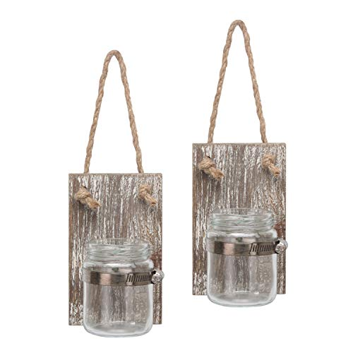(Stonebriar Rustic White Wash Wooden Mason Jar Wall Sconce Set with Hanging Loop)