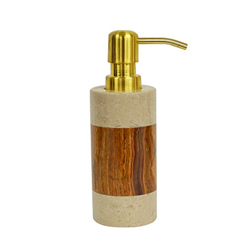 Polished Marble Soap/Lotion Dispenser, Desert Sand and Amber Shower and Bathroom Accessory