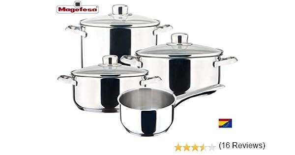 MAGEFESA DUX – Batería de cocina MAGEFESA DUX 7 piezas está Fabricada en Acero Inoxidable 18/10, Compatible con Todo Tipo de Fuego. Fácil Limpieza y Apta lavavajillas.: Amazon.es: Hogar