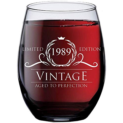 (1989 30th Birthday Gifts for Women and Men Wine Glass | Funny Vintage 30 Year Old Presents | Best Anniversary Gift Ideas Him Her Husband Wife Mom Dad | 15 oz Stemless Glasses | Party Decorations Wines)