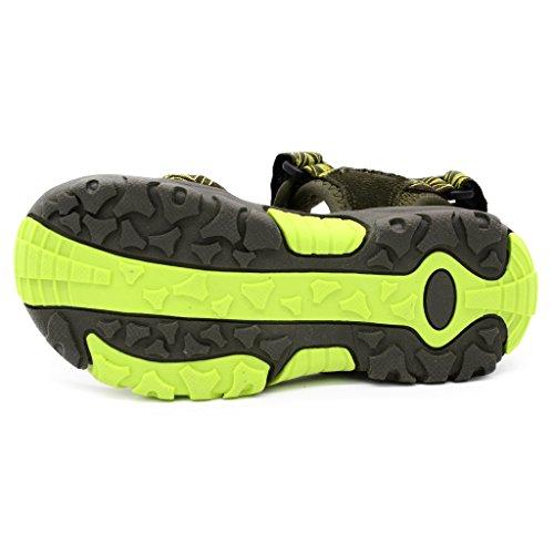 Bwiv sandalias velcro para niño con plantillas forradas de piel sandalias de playa duraderas de las tallas 24,5-38 EU Verde militar