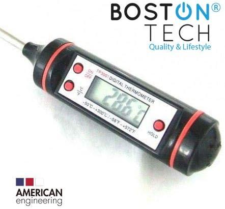 Boston Tech - HK-104, Termómetro Digital de Horno con Pincho de Acero Inoxidable, de 5s con Botón de ° C / ° F, Pantalla LCD, BBQ, Comida, Pavo, Caramelo, Leche, 1 Pack, Negro