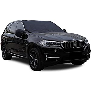 """Lasuavy Magnetic Windshield Cover with Side View Mirror Protector for Ice and Snow - Extra Large & Thick Windproof Design Fits Most Car, SUV, Truck and Van - 84.6"""" x 49.2"""""""
