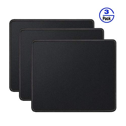 Gimnor 3 Pack Standard Mouse Pad with Stitched Edges, Comfortable Mouse Mat Pad, Non-Slip Rubber Base Mousepad for All Types of Mouse Laptop Computer PC 10.3 x 8.3 inches Black
