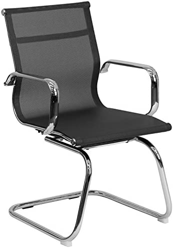 Flash Furniture Transparent Black Mesh Side Reception Chair with Chrome Sled Base