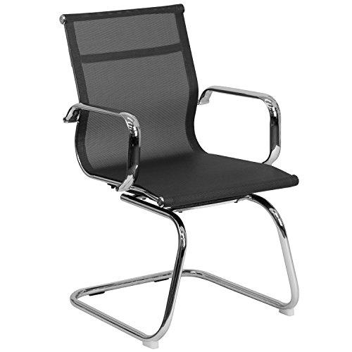 Flash Furniture Transparent Black Mesh Side Reception Chair
