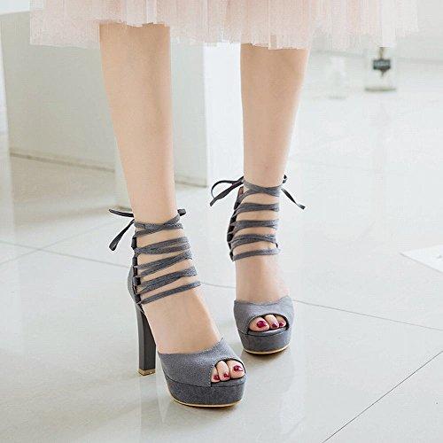 Carolbar Women's Grace Chic Peep Toe High Heel Ankle Wrap Dress Sandals Grey m2brQWS