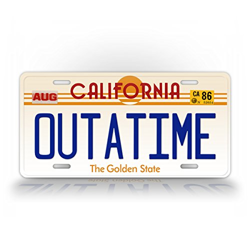 SignsAndTagsOnline California Outatime Replica Auto Tag Back to The Future Movie Delorean License Plate (Delorean License Plate Back To The Future)