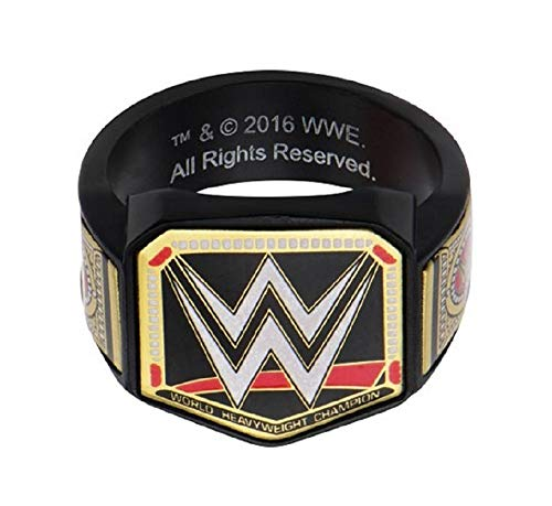 WWE Men's Stainless Steel Black PVD Plated Championship Belt Logo Ring by Deals Daily