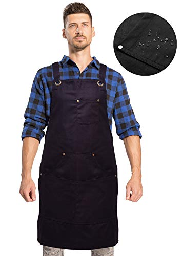 UNISI Goods Chef Works Apron with Tool Pockets, Waxed Canvas Work Aprons for Men, Cross Back Long Straps Waterproof Aprons, Apron for Kitchen BBQ and Grill Quick Release, Adjustable M to XXL(Black)