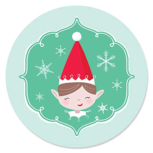 Big Dot of Happiness Elf Squad - Kids Elf Christmas and Birthday Party Circle Sticker Labels - 24 Count -