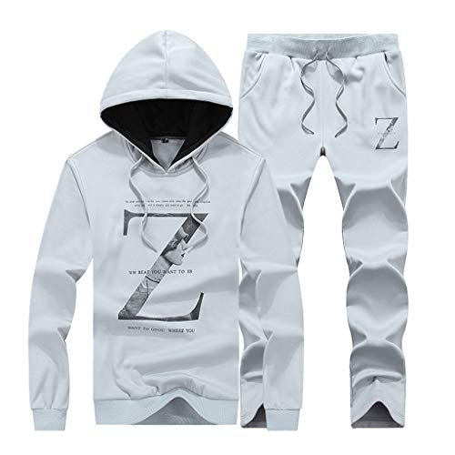 Men's Sweatsuit Pullover Floral Wild Tracksuit Outfit Gray