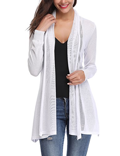 Abollria Womens Casual Long Sleeve Open Front Cardigan Sweater(White,L)