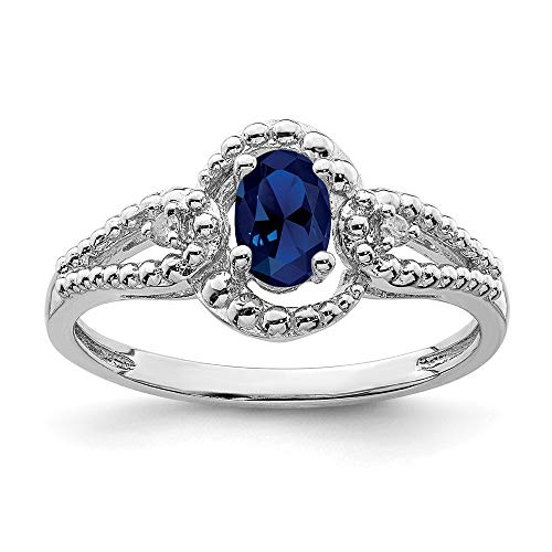 (925 Sterling Silver Created Sapphire Diamond Band Ring Size 10.00 Birthstone September Gemstone Fine Jewelry Gifts For Women For Her)