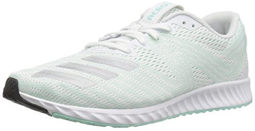 adidas Women's Aerobounce PR Running Shoe, White/Silver Metallic/Clear Mint, 7 M US ()